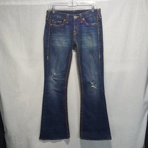 True Religion Low Boot Cut Distressed Jeans Sz 28